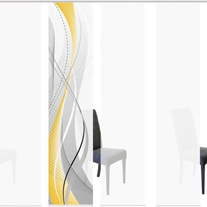 HOME WOHNIDEEN Schiebegardine CARLISLE 6ER SET, HxB: 245x60 245 cm, Paneelwagen, 60 cm gelb Wohnzimmergardinen Gardinen nach Räumen Vorhänge