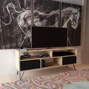 Homemania TV-Schrank, Melamin, Metall, Eiche, Schwarz, 120 x 30 x 58 cm