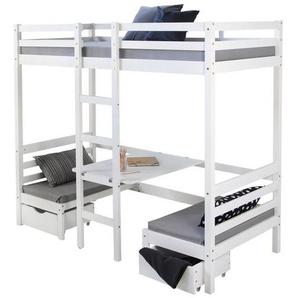 Homestyle4u Hochbett »Kinderbett Hochbett 90x200 weiß Schreibtisch Etage« (Kiefernholz)