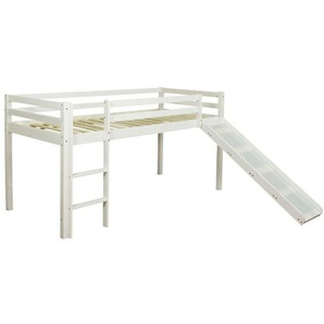 Homestyle4u Hochbett »Spielbett Kinderbett Leiter Rutsche 90x200« (aus Kiefernholz)