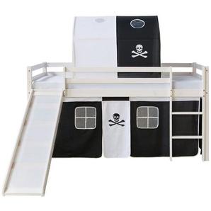 Homestyle4u Hochbett »Spielbett Kinderbett Rutsche Pirat 90x200 Kiefer« (Kiefernholz)