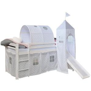 Homestyle4u Hochbett »Spielbett Kinderbett Rutsche Turm Vorhang 90cm« (aus Kiefernholz)