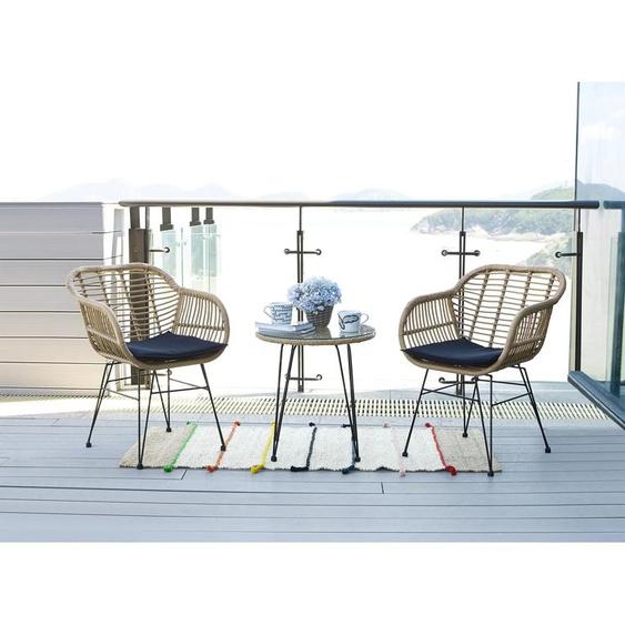 Homexperts Balkonset Ylvi, (5 tlg.), inklusive Sitzkissen und Beistelltisch, 2 Stühle mit Beistelltisch B/T: 56 cm x 60 cm, Webstoff, schwarz natur beige Gartenmöbel Gartenparty Aktionen Themen