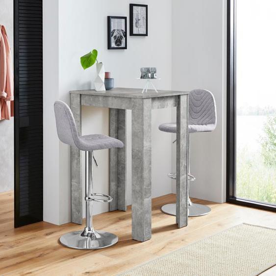Homexperts Bargruppe Nika-Circus, Tisch mit 2 Barhockern Einheitsgröße grau Esszimmertische Tische Nachhaltige Möbel
