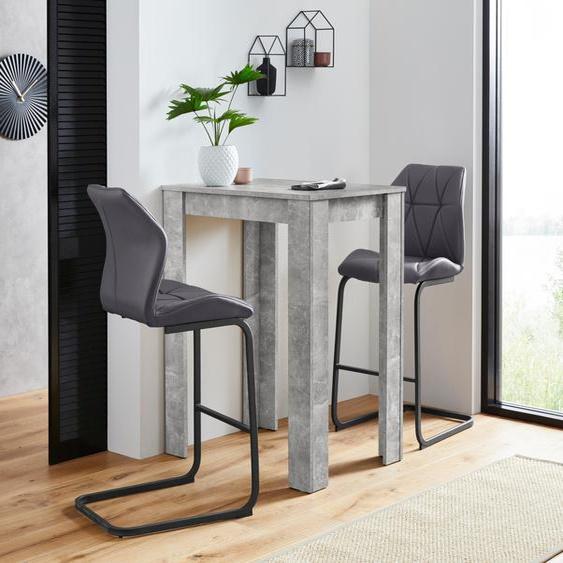 Homexperts Bargruppe Nika-Indira, Tisch mit 2 Barhockern Einheitsgröße grau Esszimmertische Tische Nachhaltige Möbel