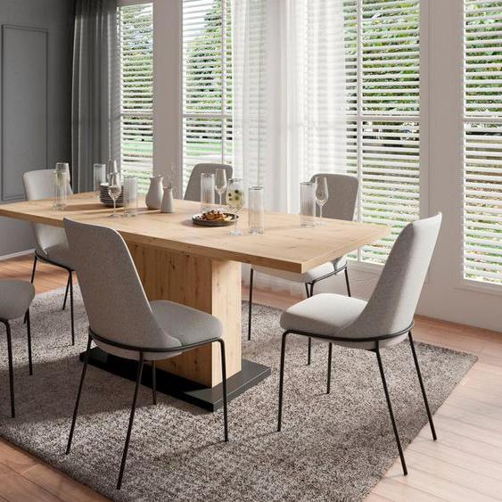 Homexperts Essgruppe »Aiko«, (Set, 5-tlg., Esstisch mit 4 Stühlen), Tisch mit Auszugsfunktion, Breite 160-200 cm