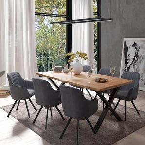 Homexperts Essgruppe »Lesley + Carlo«, (Set, 5-tlg oder 7tlg), Baumkantentisch, Breite 160 oder 200cm und 4 oder 6 Polsterstühlen mit Drehfunktion, Bezug in Cordstoff