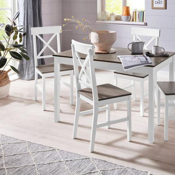 Homexperts Essgruppe »Milow«, (Set, 5-tlg), aus Massivholz, bestehend aus Esstisch Breite 118 cm und 4 Stühlen