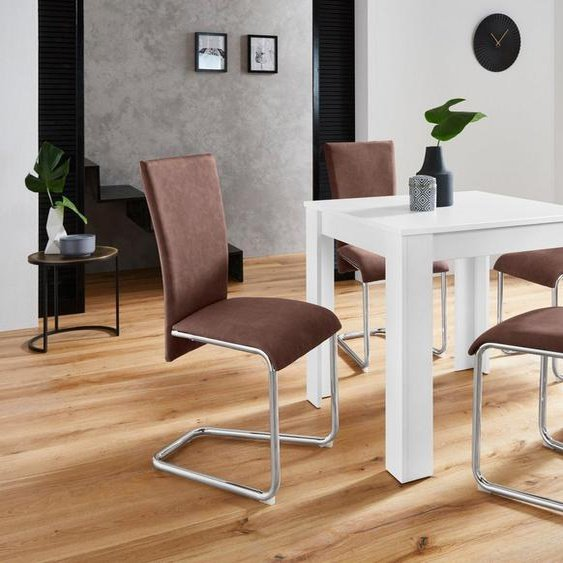 Homexperts Essgruppe »Nick1-Mulan«, (Set, 5-tlg), mit 4 Stühlen, Tisch in weiß, Breite 80 cm