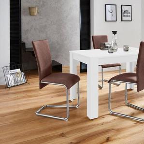 Homexperts Essgruppe »Nick2-Mulan« mit 4 Stühlen, Tisch in weiß, Breite 120 cm