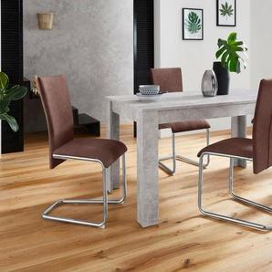 Homexperts Essgruppe »Nick3-Mulan«, (Set, 5-tlg), mit 4 Stühlen, Tisch in Beton-Optik, Breite 140 cm