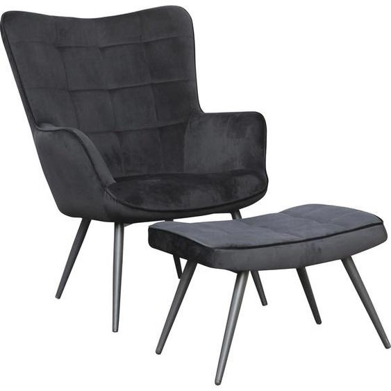 Homexperts Sitzhocker Ulla (1 Stück) Samt schwarz Hocker