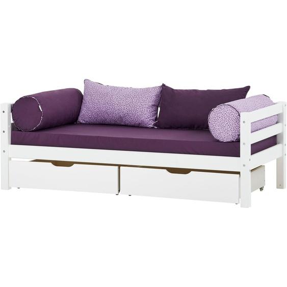 Hoppekids Einzelbett BASIC, (2 tlg., Bett und Matratzen) 70x160 cm Höhe Bettseite: 56 cm, Schaumstoffmatratze, H3 weiß Kinder Kinderbetten Kindermöbel Betten