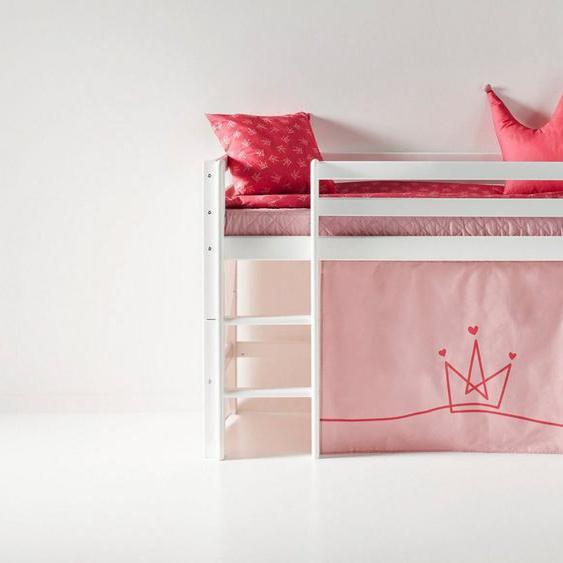 Hoppekids Hochbett mit Matratze und Textil-Set