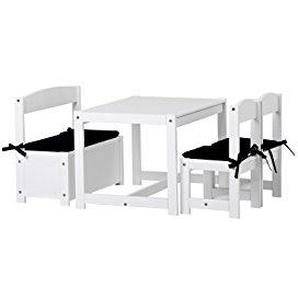 Hoppekids Mathilde Kindersitzgruppe mit Kissenset in schwarz mit 1 Kindertisch, 2 Kinderstühle und 1 Bank teilmassiv sehr stabil, Holz, weiß , 64 x 74 x 56 cm