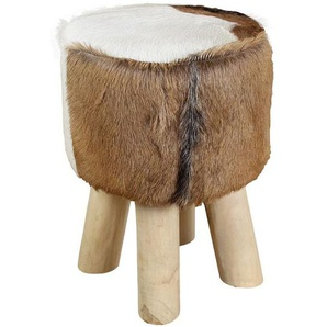 HSM Collection Hocker Ziegenfell Ø33x45cm Natur