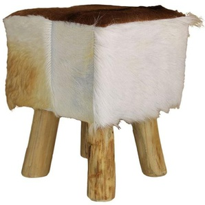 HSM Collection Ziege Hocker 33x33x45cm Holz/Ziegenfell Natur
