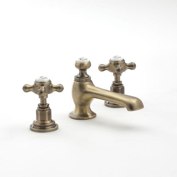 Hudson Reed Elizabeth - 3-Loch Waschtisch-Mischbatterie mit 2 Kreuzgriffen - Antikes Gold