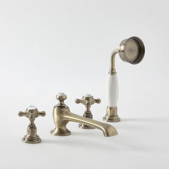 Hudson Reed Elizabeth - 4-Loch Badewannenarmatur mit ausziehbarer Handbrause und 2 Kreuzgriffen - Antikes Gold