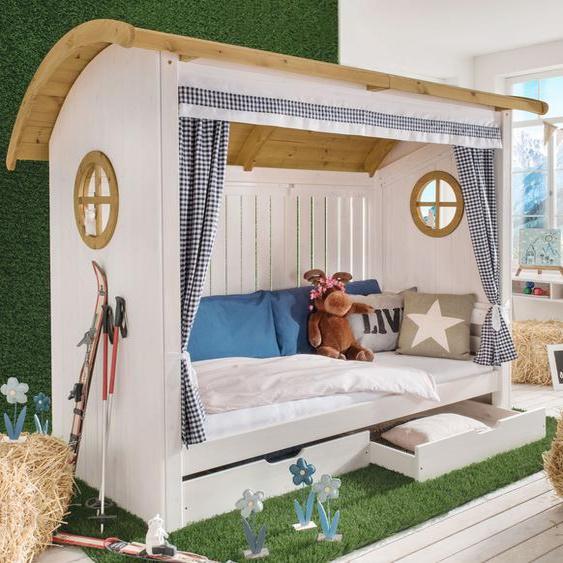 Hüttenbett Alpengaudi, weiß mit Holzstruktur, 90x200 cm, mit Rückwand