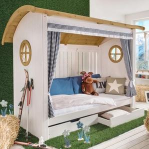 Hüttenbett Alpengaudi, weiß mit Holzstruktur, 90x200 cm, ohne Rückwand