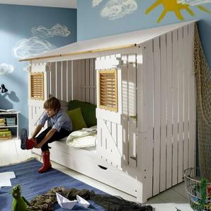 Hüttenbett Strandhaus, weiß mit Holzstruktur - BETTEN.de