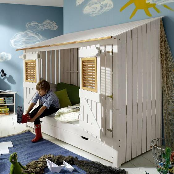 Hüttenbett Strandhaus, weiß mit Holzstruktur
