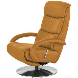 Hukla Leder-Relaxsessel  Florian ¦ orange ¦ Maße (cm): B: 73 H: 109 T: 91