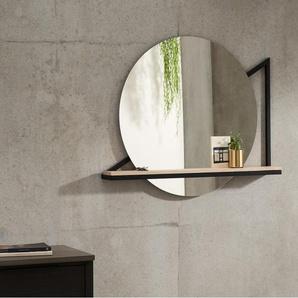 Huldra Wandspiegel mit Ablage (o 74 cm), Schwarz