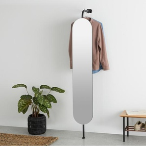 Huldra Wandspiegel mit Garderobe, Schwarz