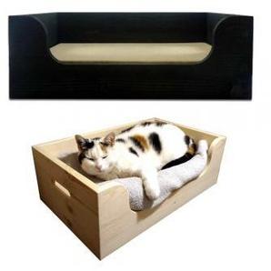 Hunde- & Katzenbetten aus Holz mit Memory-Foam Matratze - Kuscheloase Medium, Schwarz - handgefertigt, Made in Germany