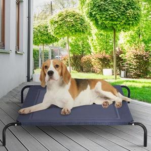 Hundebett Garten Hundeliege Liegeplatz draußen Hundesofa Grau 110 x 80 x 18 cm Metall
