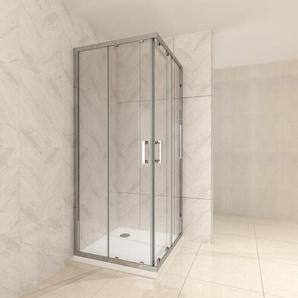 Duschkabine mit Schiebetüren Eckdusche mit Rollensystem aus ESG Glas 190cm Hoch 75x85 - I-FLAIR