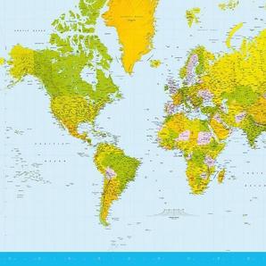 Idealdecor Fototapete »Map of the World«, (8 St), 366x254 cm