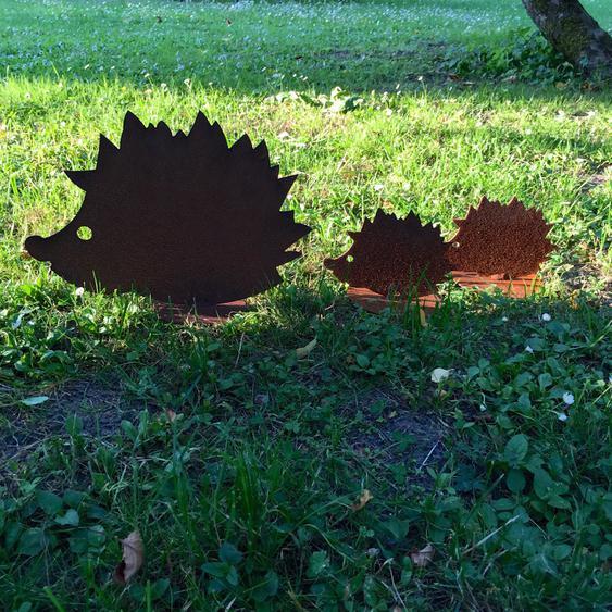Igel Figuren, Garten Dekoration Edelrost, Igel Familie, Herbstliche Haustür Deko