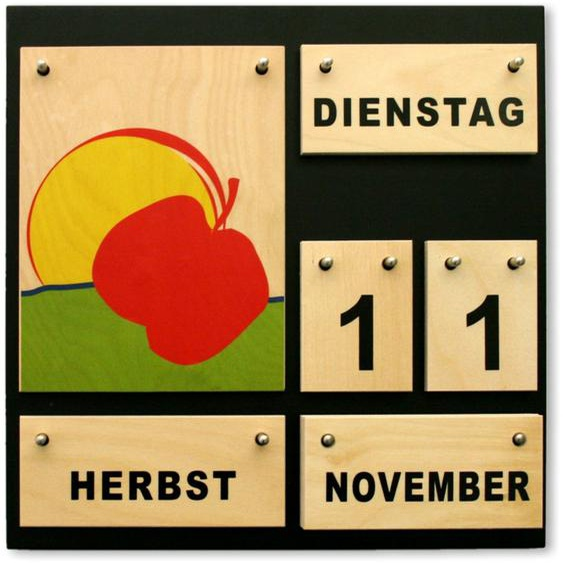 Immerwährender Kalender aus Holz Klare Form classic Dauerkalender