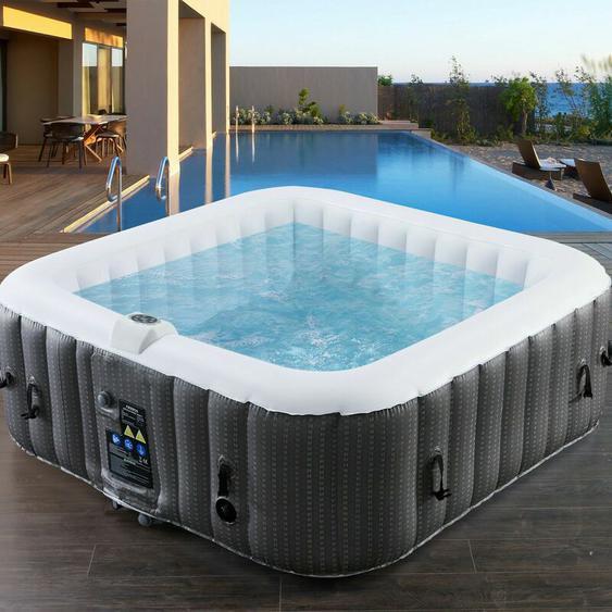 In-Outdoor Whirlpool Spa Pool Wellness Heizung Massage Aufblasbar Quadrat - Arebos