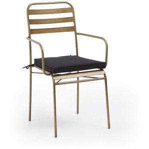 In- und Outdoor Stuhl Set aus Metall und Goldfarben Sitzkissen (4er Set)