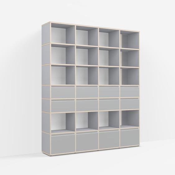 Individualisierbar: Raumtrenner aus Multiplexplatte in Grau - Moderne Designer-Möbel nach Maß.