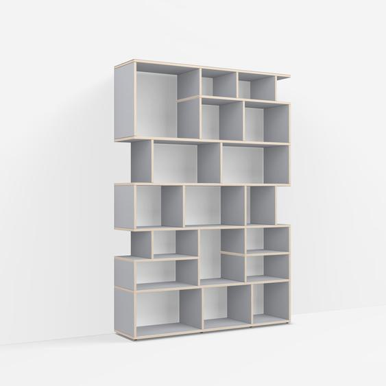Individualisierbare Bücherwand aus Massivholz in Grau. Moderne Designer-Möbel