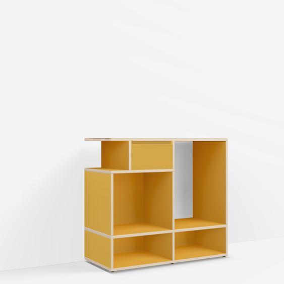 Individualisierbares Schallplattenregal aus Spanplatte in Gelb. Moderne Designer-Möbel