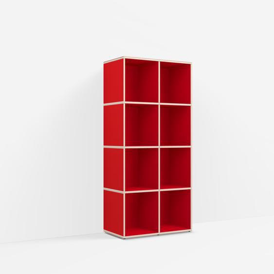 Individualisierbares Schallplattenregal aus Spanplatte in Reinrot. Moderne Designer-Möbel