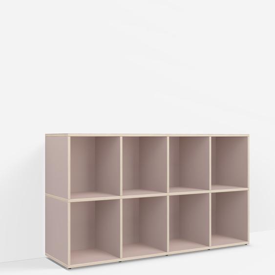 Individualisierbares Schallplattenregal aus Spanplatte in Rosa. Moderne Designer-Möbel