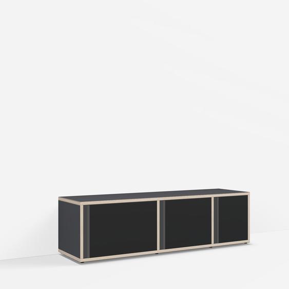 Individualisierbares Sideboard aus Massivholz in Schwarz. Moderne Designer-Möbel nach Maß.