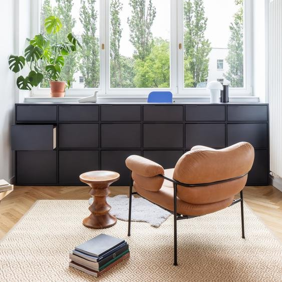 Individualisierbares Sideboard aus Multiplexplatte in Blau. Moderne Designer-Möbel nach Maß - Spanplat