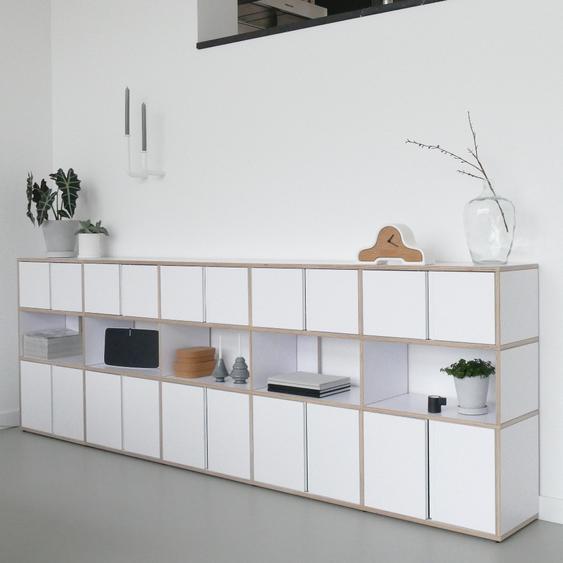 Individualisierbares Sideboard aus Multiplexplatte in Weiß. Moderne Designer-Möbel nach Maß.