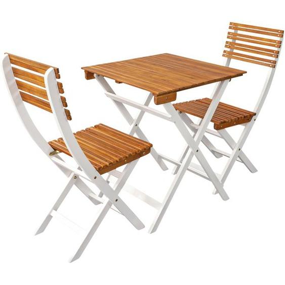 indoba Balkonset Nizza, (3 tlg.), Bistro Set - IND-70168-BISE3 aufklappbar weiß Gartenmöbel Gartenparty Aktionen Themen