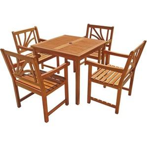 Indoba Gartenmöbel-Set 5-teilig Lotus Tisch quadratisch