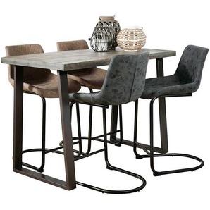 Industriedesign Bartisch aus Mangobaum Massivholz und Stahl 135 cm breit