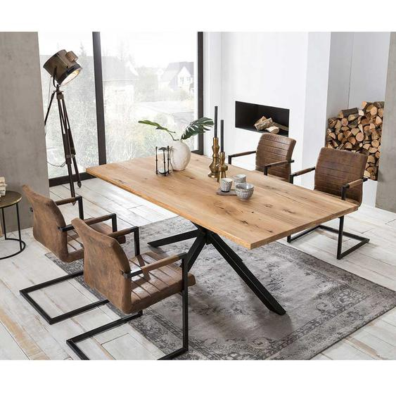 Industriedesign Essgruppe aus Wildeiche Massivholz Braun Kunstleder